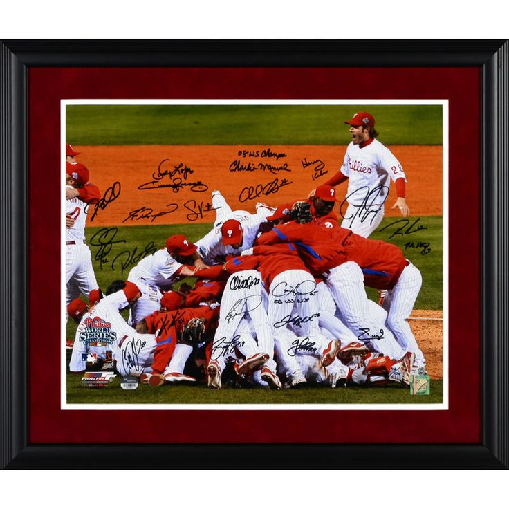 """Philadelphia Phillies Fanatics Authentic Framed Autographed 16"""" x 20"""" Team Signed 2008 World Series Photograph with Red Suede Matting"""