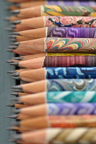 Marbled pencils