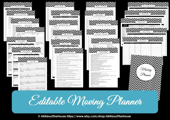 This moving planner contains 46 essential pages to help you plan a less stressful and more organized move! Printable box labels and door hanger