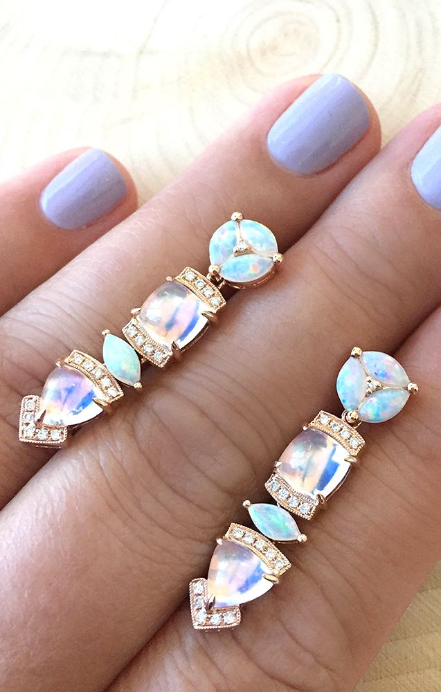 Obsessed with this combo! Moonstone and opal one of a kind earrings!