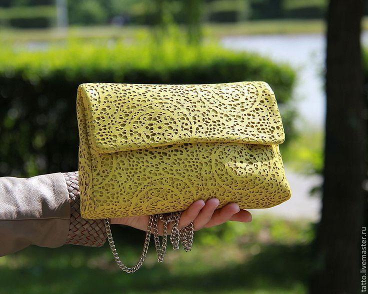 Купить Кожаный клатч - Ница ( желтый лайм ) - необычная сумка, сумка кожаная
