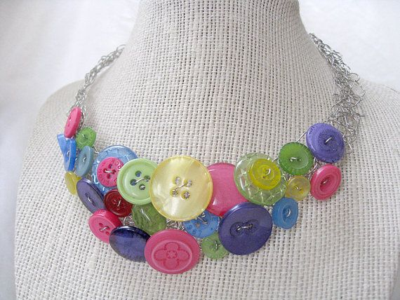 Wire crochet button necklace by ChasingTaylan on Etsy