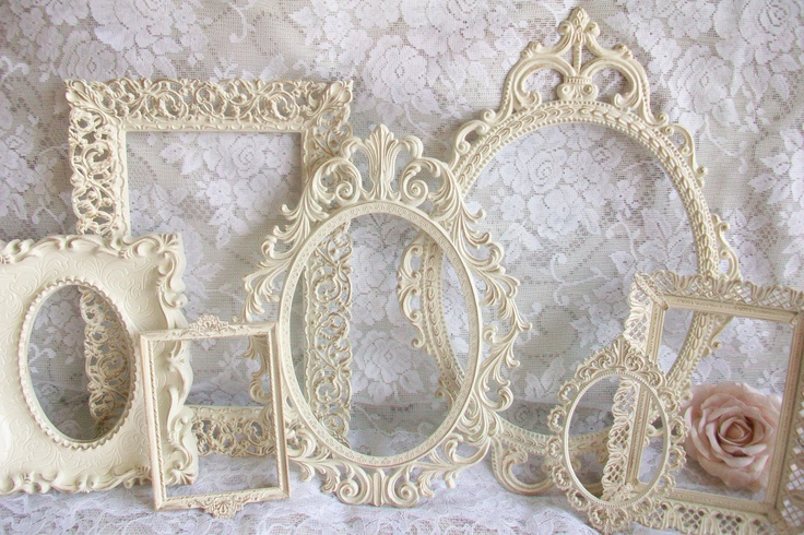 Shabby Chic Frames, Vintage Frames, Creamy White Frame Set, Distressed in Gold, Ornate Frames, Vintage Wedding Decor, Wall Gallery Frames. $129.00, via Etsy.