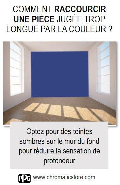 Optez pour des teintes sombres sur le mur du fond pour réduire la sensation de profondeur d'une pièce. www.chromaticstore.com #couleur #raccourcir #pièce