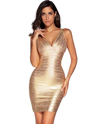 Meilun Womens Rayon Sexy Vneck Bandage Bodycon Strap Green Foil Dress Medium Gold -- Details can be found by clicking on the image. (This is an affiliate link) #WomensDresses