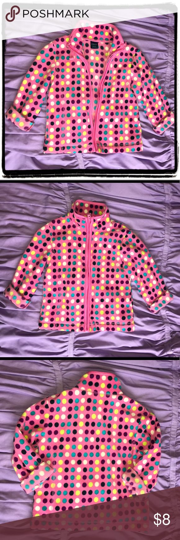 Pink Polka Dot Fleece Jacket Pink fleece jacket with multi colored polka dots by Falls Creek. Perfect for a cool morning! Good condition. Zipper perfect. Girls XS (4-5) Falls Creek Jackets & Coats