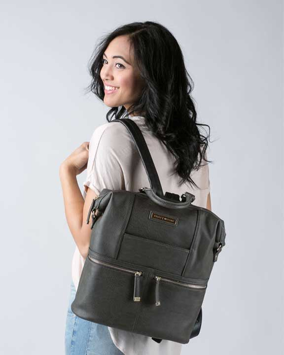Official Kelly Moore Bag's site. The Woodstock can be transformed from a stylish backpack to an everyday handbag. Includes an external wallet pocket.