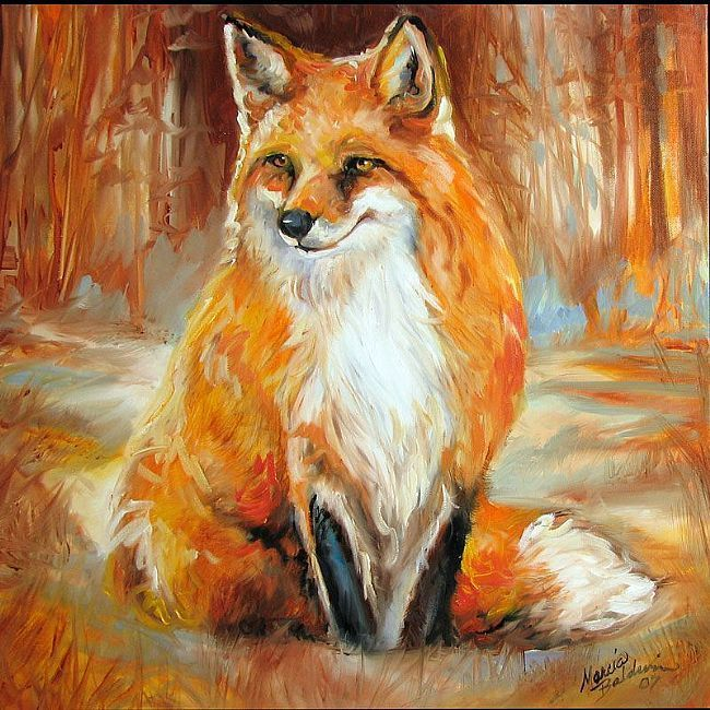 Red Fox Foxy By Marcia Baldwin From Wildlife Fox Painting Red Fox Art Fox Art