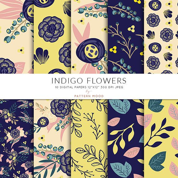 Indigo Flowers Digital Paper Pattern Digital Wedding Paper