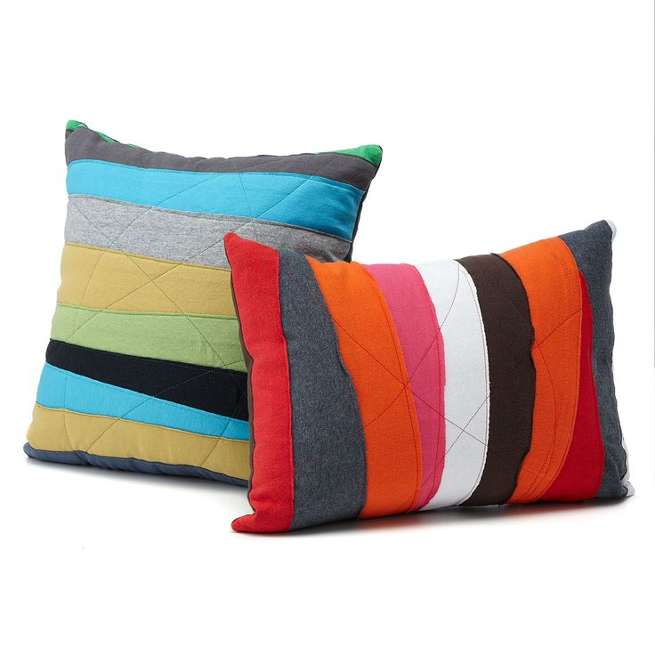 UPCYCLED T-SHIRT PILLOWS - I could do this with all the scraps of fabric I have! | Decorative Cotton Throw Pillow | UncommonGoods