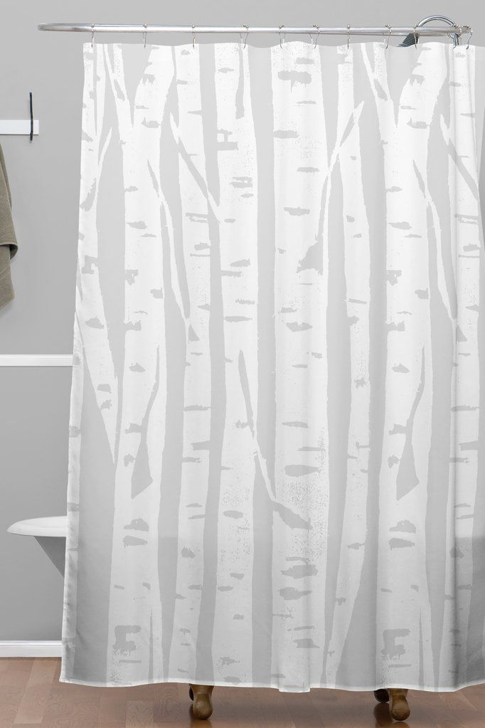 Woodcut Birches Shower Curtain Bianca Green With Images