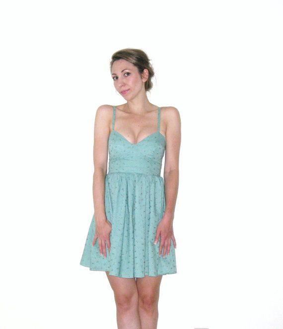 Peppermint Green Cotton Eyelet Bustier Women by TexStyleJukebox, $98.00