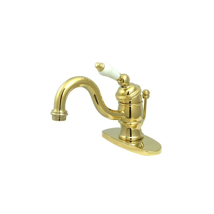 Kingston Brass KB340.PL Victorian Bathroom Faucet with Deck Plate Drain Assembl Polished Brass Faucet Lavatory Single Handle