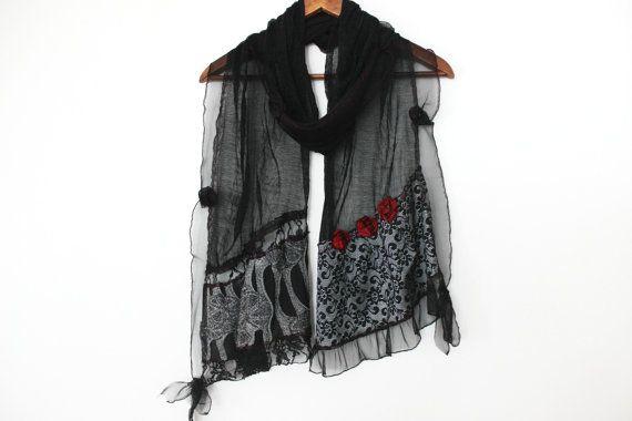 Black silver shawl Black unique scarf Long Black scarf