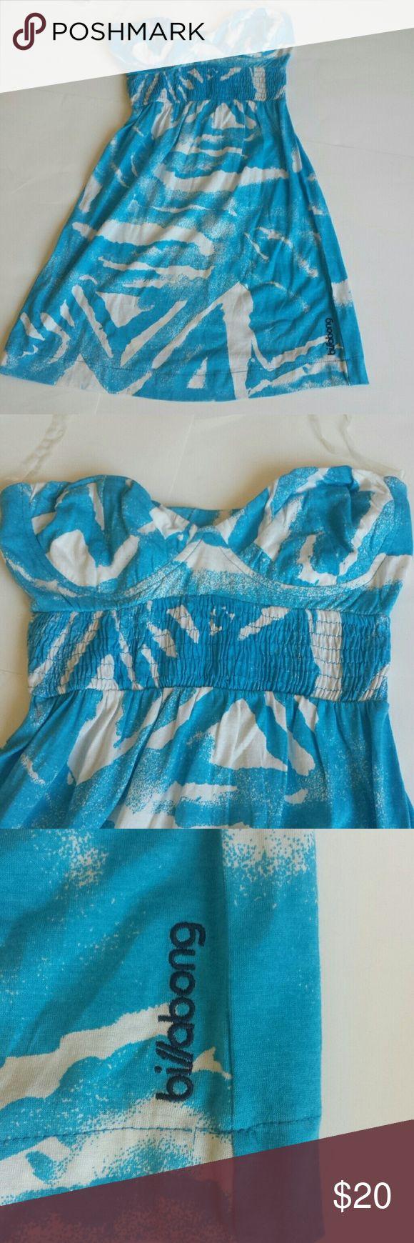 Billabong strapless Beach dress cover up XS Blue and white Beach dress strapless Billabong size extra small cotton modal Billabong Dresses Mini