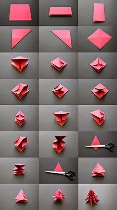 Petits sapins de Noël origami  http://www.homelisty.com/diy-noel-49-bricolages-de-noel-a-faire-soi-meme-faciles/
