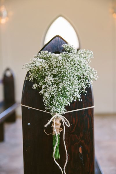 Baby's breath pew ends. Image: Cavanagh Photography http://cavanaghphotography.com.au