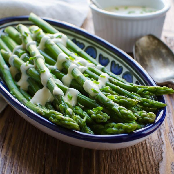 Need an easy sauce for asparagus? The dijon sauce for this Creamy Dijon Asparagus takes about 2 minutes to assemble and makes a great dressing for steamed or blanched asparagus. Serve hot or cold for a delicious gluten-free, vegetarian side dish.
