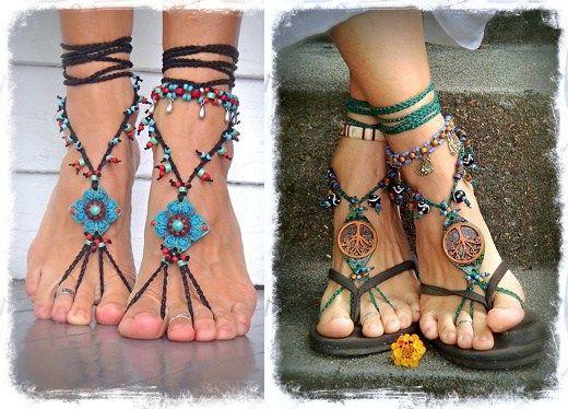 Sandalias descalzas: crochet, cuero, cadenas