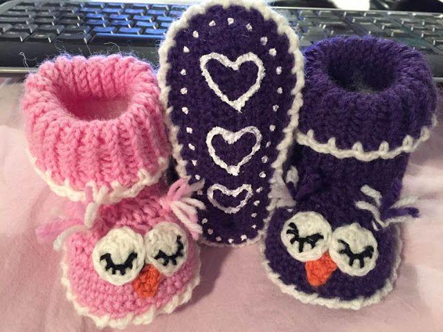 The Daily Knitter & Crocheter: Crochet owl slippers - free pattern - wool slipper...