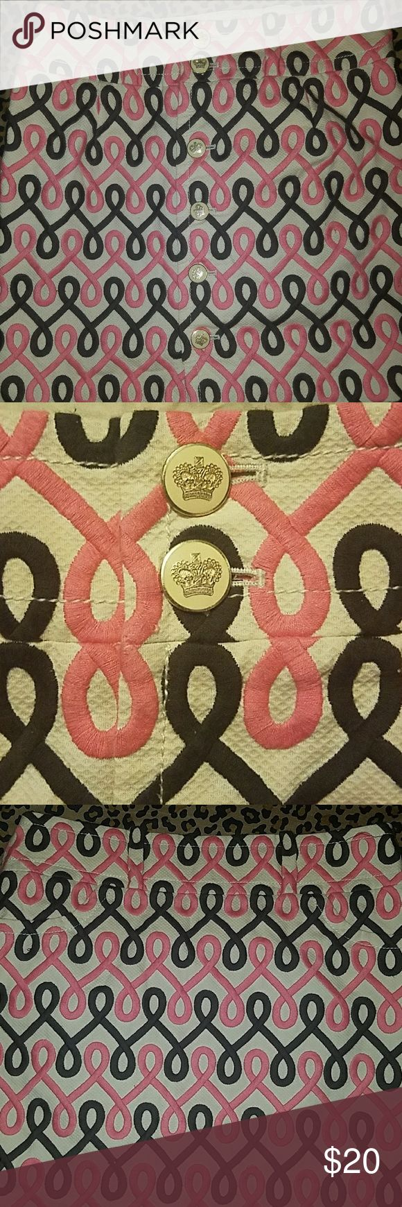 Pink Brown and Tan skirt Button down back Juicy Couture Skirts Mini