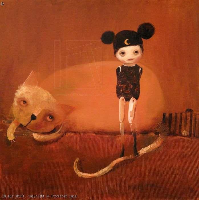 KRZYSZTOF IWIN - TOM & JERRY (olej płyta 50x50cm (2009) )
