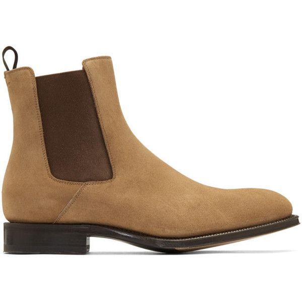 Alexander McQueen Tan Suede Chelsea Boots (22,215 MXN) ❤ liked on Polyvore featuring men's fashion, men's shoes, men's boots, tan, alexander mcqueen mens shoes, mens tan shoes, mens tan boots, mens suede shoes and mens suede boots #alexandermcqueenshoes