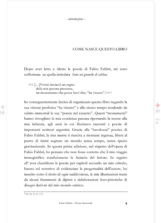 COME NASCE QUESTO LIBRO - introduzione  Pagina 9 del libro Fabio Fabbri poesie immortali - a cura di Carina Aprile