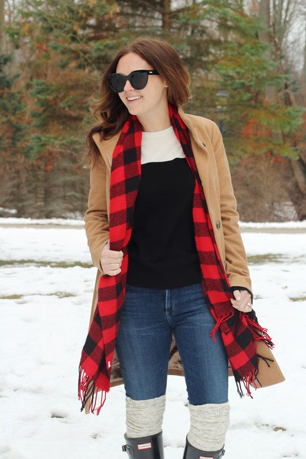 jillgg's good life (for less) | a west michigan style blog: my everyday style: a very snowy day! #winteroutfit #camelcoat #plaidscarf #hunterboots #howtostaywarmandcute