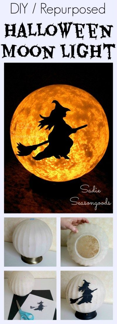 An outdated, vintage ceiling light fixture glass globe is easy to repurpose / upcycle into the coolest Halloween project around: A spooky, eerie DIY Halloween Moon complete with a flying witch on her broomstick! Scare your neighbors and trick-or-treaters with this awesome DIY craft project by #SadieSeasongoods / www.sadieseasongoods.com