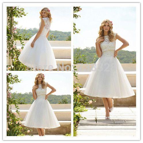 Aliexpress.com: Koop 2014 vintage hoge hals bruids trouwjurken jurken vestido de Noiva korte witte tule romantische trouwjurk van betrouwbare Dress Up trouwjurken leveranciers op Romantic Love 0918