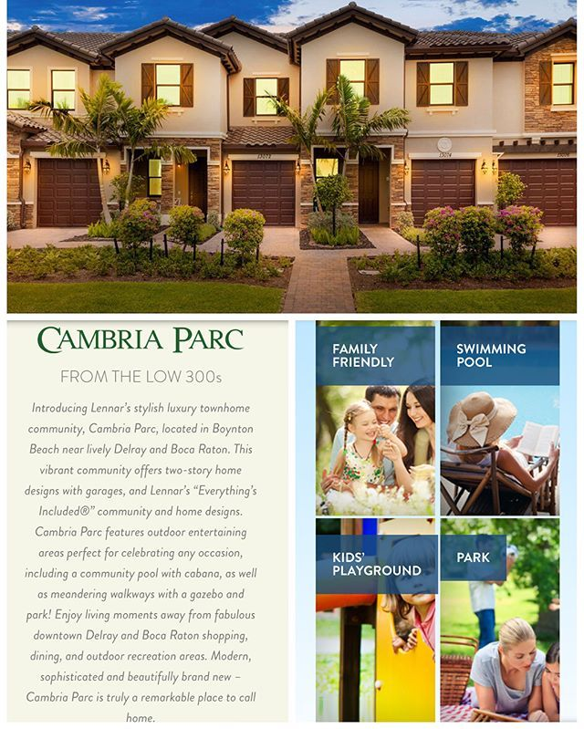 Cambria Parc Stylish Luxury Townhomes in Boynton Beach, FL starting in the low $300s. Contact me for details 954-906-7997! #stylishtownhomes #luxurytownhomes #newconstruction #boyntonbeach #florida #realestate #floridarealestate #southflorida #realtor #realestateagent #luxuryrealestate #miamirealestate #miamirealtor #browardrealestate #browardrealtor #palmbeachrealestate #palmbeachrealtor #realtormom #realtorlife #propertyforsale #propertyforrent #localrealtors - posted by Kelly-Ann Hall…