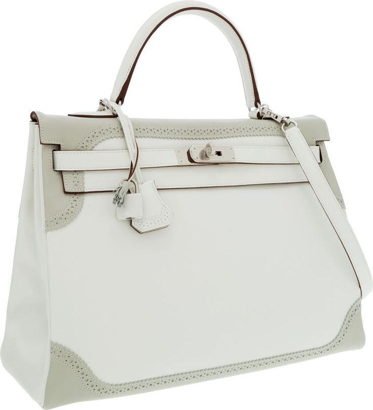 Hermes Limited Edition 35cm White \u0026amp; Gris Perle Swift Leather ...
