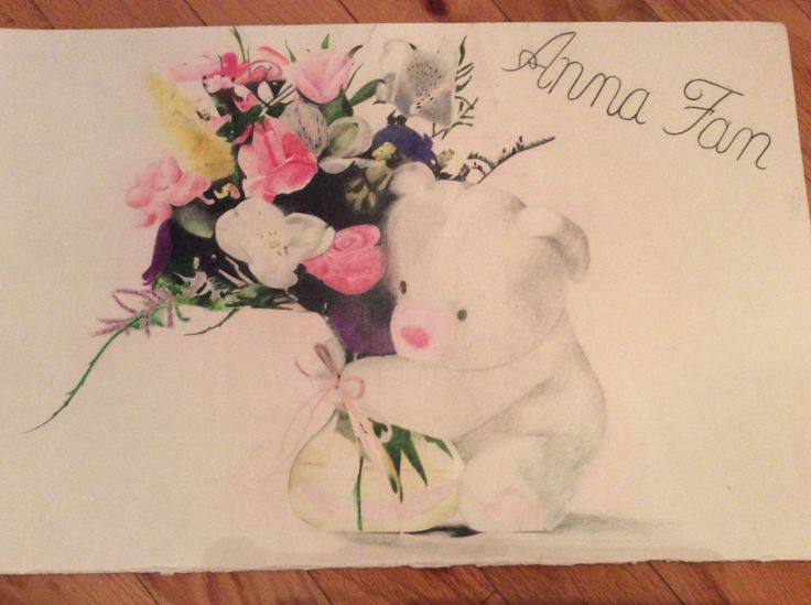 Teddy bear with flowers in a vase - using coloured pencils By: Anna Fan