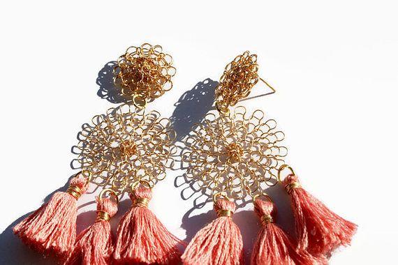 Pendientes aretes boho rosa oro la espiga larga collar