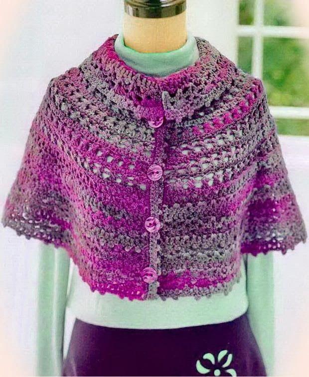Crochet Shawls: Crochet Cape - Wonderful Women's Cape for Winter. No pattern. Pinned for inspiration
