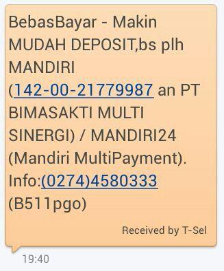 http://bit.ly/BebasBayar - Makin MUDAH DEPOSIT,bs plh MANDIRI (142-00-21779987 an PT BIMASAKTI MULTI SINERGI) / MANDIRI24 (Mandiri MultiPayment). Info:(0274)4580333 (cEmlHe0)