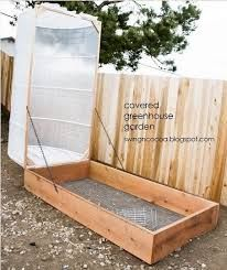 **DIY** Hinged Covered Greenhouse Garden        I Love this hinged covered green house idea great way to keep your veg safe from pests and bugs. Very simple to make this green house even to a novice diyer, so click the link below to see how to build