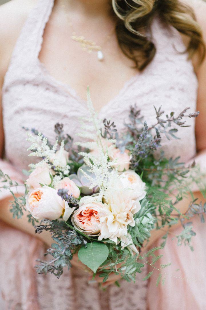 Blush pink bridesmaid + peach wedding bouquet | fabmood.com #wedding #rusticwedding #weddingstyle #ido #weddinginspiration