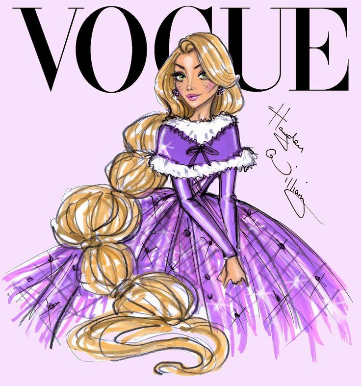 Ilustrações de moda - Princesas Disney na capa da Vogue