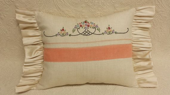 Peaches n Cream Shabby Chic Embroidered Throw Pillow - made from an embroidered vintage tea towel