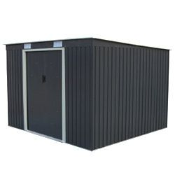 Abri de jardin en métal adossable 6.5 m² gris anthracite + kit d'ancrage inclus