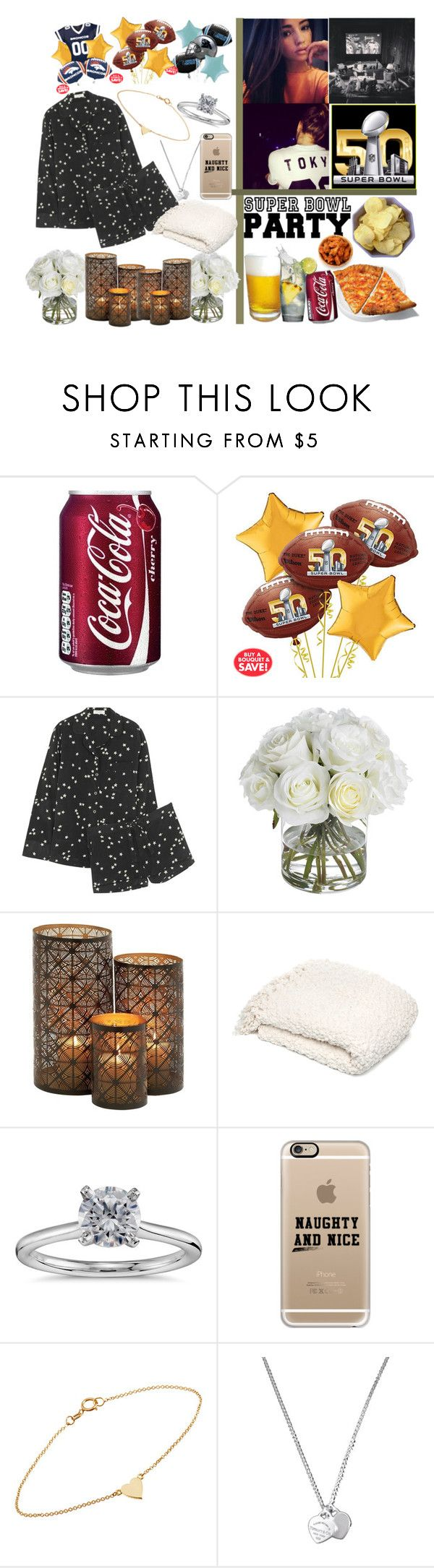 """""""super bowl night w/ my crew """" by momochen95 ❤ liked on Polyvore featuring Equipment, Diane James, Woven Workz, Blue Nile, Casetify, Jennifer Meyer Jewelry, Tiffany & Co., women's clothing, women and female"""