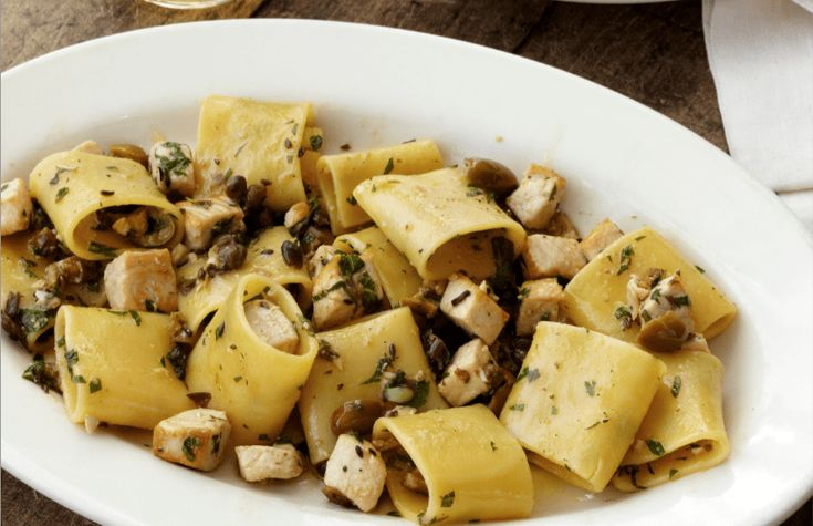 Paccheri Pasta With Swordfish, Olives, Capers And Mint Recipe