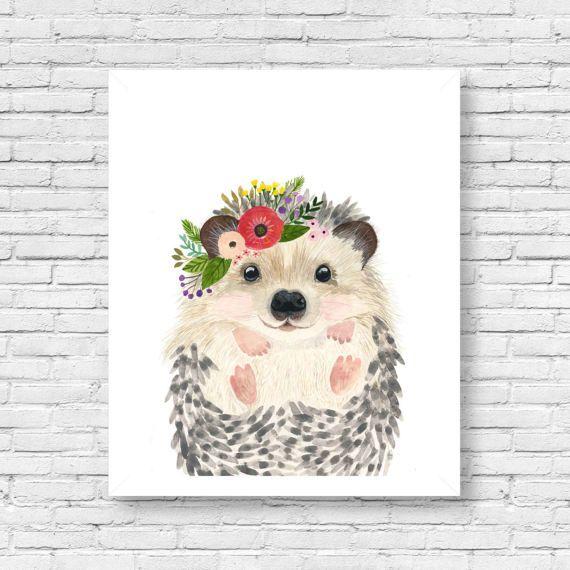 Acuarela hedgehog 2 bosque vivero pinturas de animales