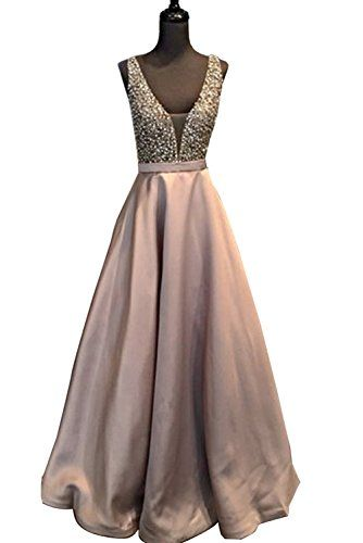 536d338ef2 YuNuo Hot Sale Prom Dresses 2018 V-Neck Open Back Beads Sequined Imported  Party Dress Robe De Soiree S5Dustypink-US4