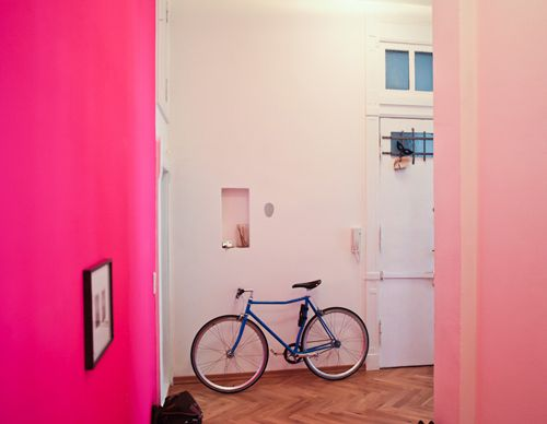 pastel with a bit of neon.: Pink Pink Pink, Pastel, Bike, Color, Pink Rooms, Hot Pink, Pink Wall, Neon Pink, Accent Wall
