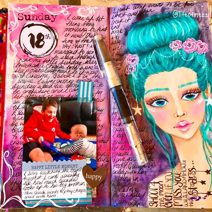 """0 Likes, 1 Comments - Mez (@lifeofmezz) on Instagram: """"Hey guys ! Here's the journal page I did when I collaborated with Leanne from @creativelyfree2bme  on youtube. It is a mixed media page where we used 4 of the same elements to create 2 totally different journal pages. the four elements were- stars, a face, mermaid markers and the colour turquoise. for more information , supplies and techniques used head to my youtube channel or blog"""