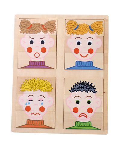 Le puzzle des émotions, constitué de trois parties, permet de mieux identifier les parties du visage et de les positionner dans l'ordre de haut en bas. J'insiste sur les positions spatiales : en haut, au milieu et en bas et sur l'ordre de réalisation du puzzle.