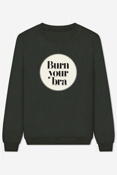 Sweatshirt hand-printed with care. American cut, crew neck, fitted shoulders and sleeves, ribbed trim and tightening at wrists. Ultra soft and comfortable inside  Burn Your Bra by Back To School for Rad.